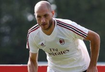 Gabriel Paletta during training at Milanello. (@acmilan.com)