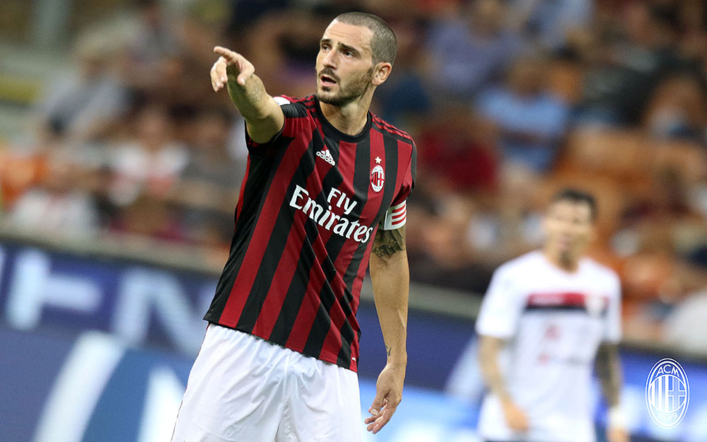 Leonardo Bonucci during Milan-Cagliari at Stadio San Siro on August 27, 2017. (@acmilan.com)