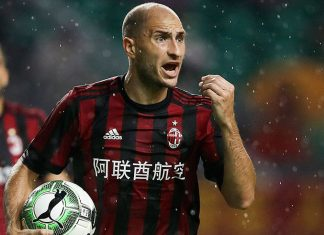 Gabriel Paletta during Milan-Borussia Dortmund at University Town Sports Centre Stadium on July 18, 2017 in Guangzhou, China. (Photo by Lintao Zhang/Getty Images)
