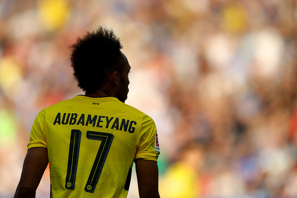 Pierre-Emerick Aubameyang during Bochum-Borussia Dortmund at Vonovia Ruhrstadion on July 22, 2017. (Photo by Christof Koepsel/Bongarts/Getty Images)