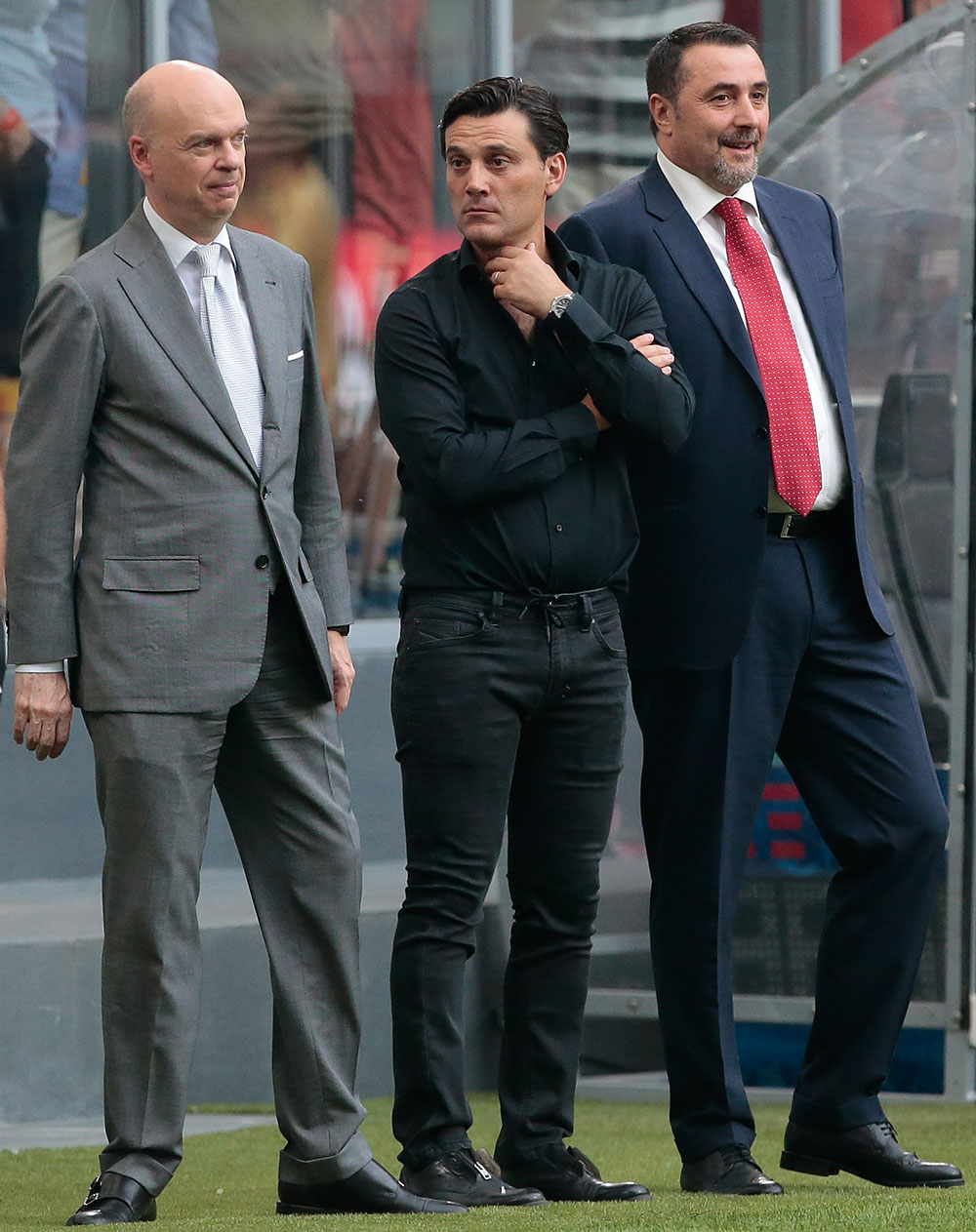 Marco Fassone, Vincenzo Montella and Massimiliano Mirabelli before Milan-Craiova at Stadio San Siro on the 3rd of August, 2017. (Photo by Emilio Andreoli/Getty Images)