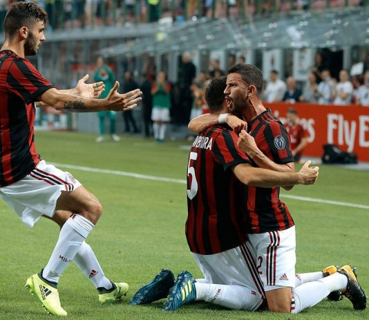 Giacomo Bonaventura, Mateo Musacchio and Patrick Cutrone celebrate during Milan-Craiova at Stadio San Siro on the 3rd of August 2017. (Photo by Emilio Andreoli/Getty Images)