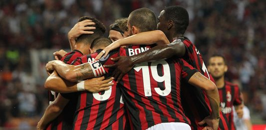 The team celebrating during Milan-Shkëndija at Stadio San Siro on August 17, 2017. (Photo by Marco Luzzani/Getty Images)