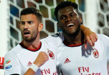 Mateo Musacchio and Franck Kessié celebrating during Crotone-Milan at the Ezio Scida Stadium on August 20 2017. (CARLO HERMANN/AFP/Getty Images)