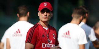 Vincenzo Montella during training at Milanello. (@acmilan.com)