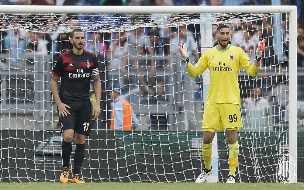 Leonardo Bonucci and Gianluigi Donnarumma during Lazio-Milan at Stadio Olimpico on the 10th of September, 2017. (@acmilan.com)