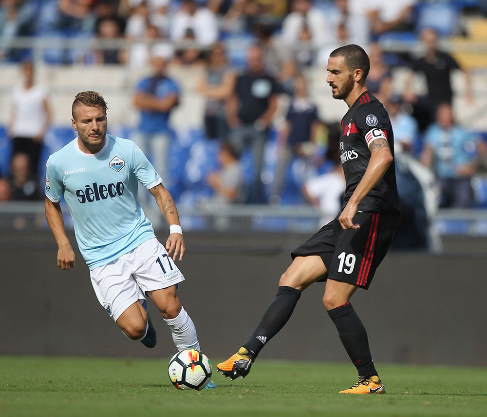 Leonardo Bonucci and Ciro Immobile during Lazio-Milan at Stadio Olimpico on the 10th of September, 2017. (Photo by Paolo Bruno/Getty Images)