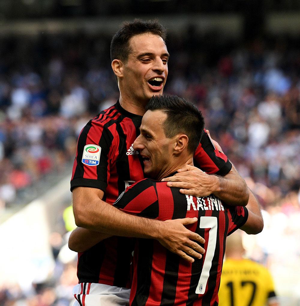 Giacomo Bonaventura and Nikola Kalinić celebrating during Milan-Udinese at Stadio San Siro on the September 17, 2017. (Photo by Claudio Villa/Getty Images)