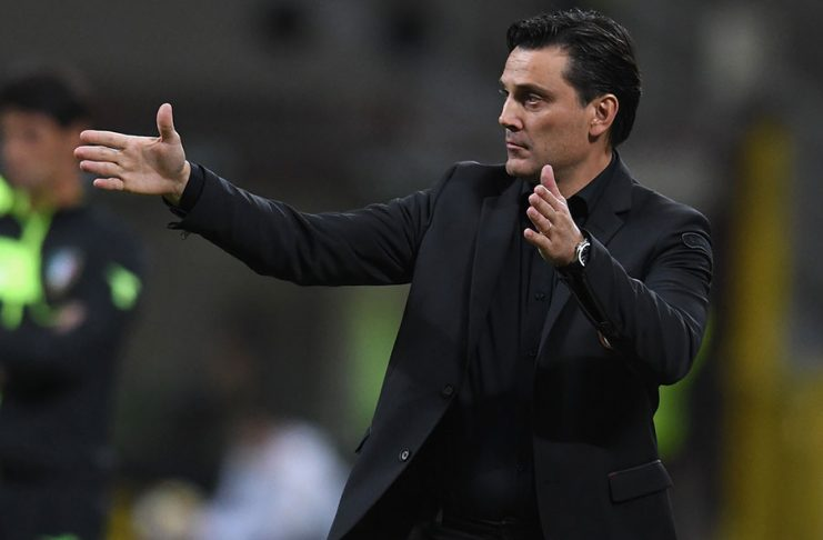 Vincenzo Montella during Milan-SPAL at Stadio San Siro on September 20, 2017. (Photo by Claudio Villa/Getty Images)