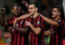 Leonardo Bonucci, Franck Kessié, Nikola Kalinić and André Silva celebrating during Milan-SPAL at Stadio San Siro on September 20, 2017. (Photo by Claudio Villa/Getty Images)