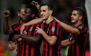 Leonardo Bonucci, Franck Kessié, Nikola Kalinić and André Silva celebrating during Milan-SPAL at Stadio San Siro on September 20, 2017. (Photo by Claudio Villa/Getty Images)