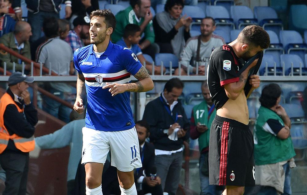 Patrick Cutrone and Ricky Álvarez during Sampdoria-Milan at Stadio Luigi Ferraris on September 24, 2017. (Photo by Paolo Rattini/Getty Images)
