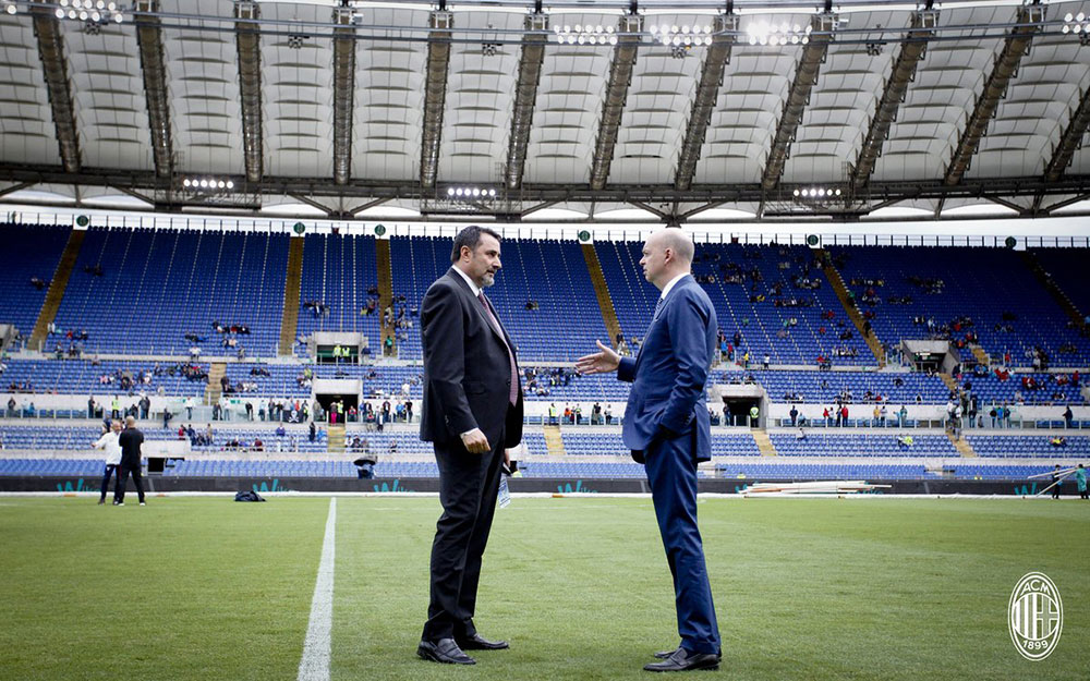 Marco Fassone and Massimiliano Mirabelli before Lazio-Milan at Stadio Olimpico on the 10th of September, 2017. (@acmilan.com)