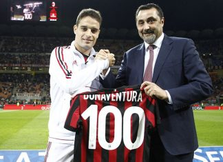 Giacomo Bonaventura and Massimiliano Mirabelli before Milan-SPAL at Stadio San Siro on September 20, 2017. (@acmilan.com)