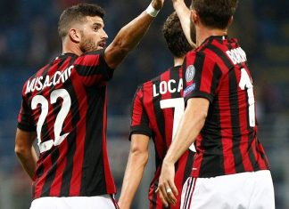 Mateo Musacchio, Fabio Borini and Manuel Locatelli celebrating during Milan-Rijeka at Stadio San Siro on September 28, 2017. (@acmilan.com)