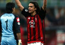 Filippo Inzaghi celebrating during Milan-Juventus at Stadio San Siro on March 22, 2003. (Photo by Grazia Neri/Getty Images)