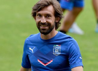 Andrea Pirlo during an Italy training session at Stade de Geneve on June 15, 2015 in Geneva, Switzerland. (Photo by Claudio Villa/Getty Images)