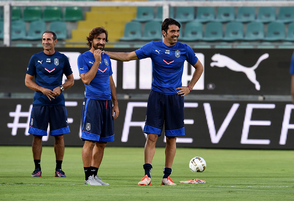 Andrea Pirlo and Gianluigi Buffon during a training session at Renzo Barbera Stadium on September 5, 2015 in Palermo, Italy. (Photo by Claudio Villa/Getty Images)