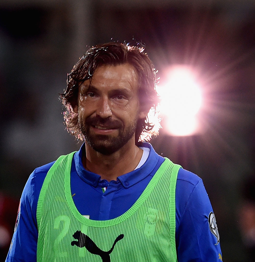 Andrea Pirlo before the Italy-Bulgaria UEFA EURO 2016 Qualifier match at Stadio Renzo Barbera on September 6, 2015. (Photo by Claudio Villa/Getty Images)