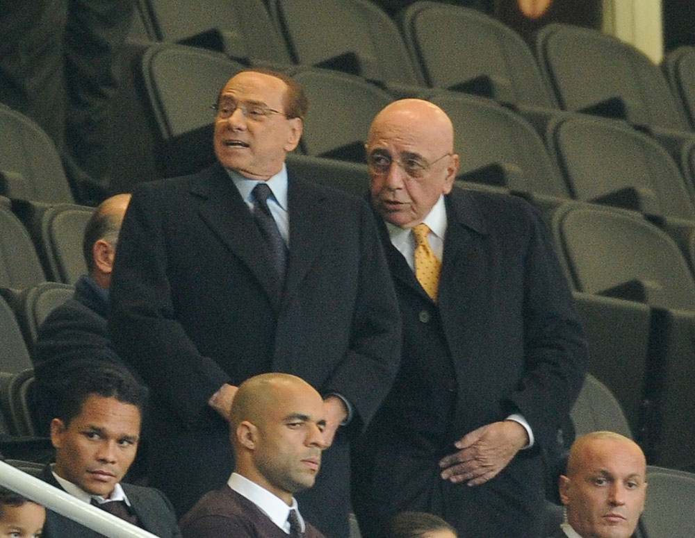 Silvio Berlusconi and Adriano Galliani during the Milan-Inter Berlusconi Trophy match at Stadio San Siro on October 21, 2015. (Photo by Pier Marco Tacca/Getty Images)