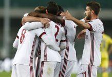 Suso, Davide Calabria, Fabio Borini, Franck Kessié and Lucas Biglia celebrating during Chievo-Milan at Stadio Marc'Antonio Bentegodi on October 25, 2017. (@acmilan.com)
