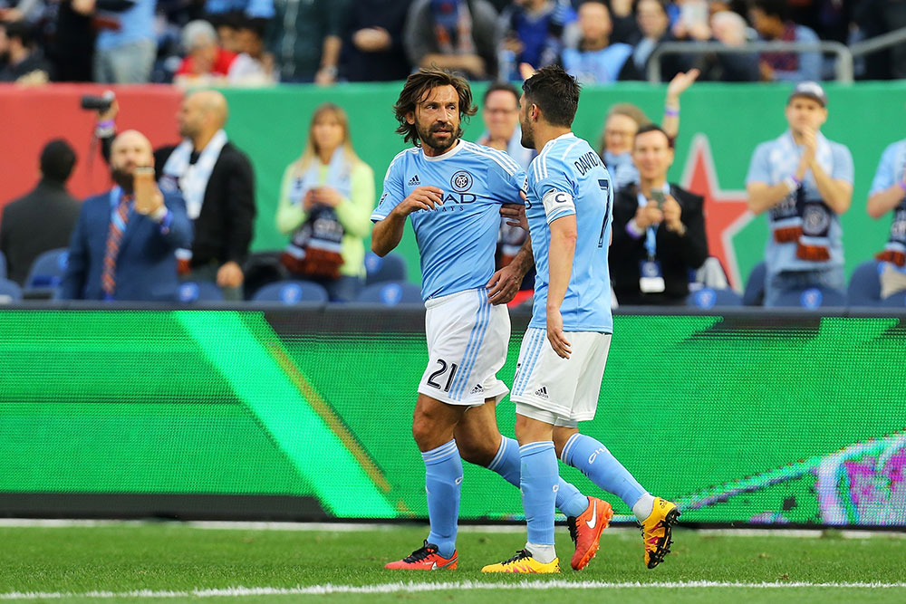 Andrea Pirlo and David Villa during New York City FC-Toronto FC at Yankee Stadium on March 13, 2016 in the Bronx borough of New York City. (Photo by Mike Stobe/Getty Images)