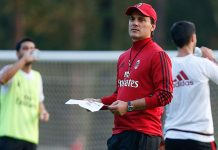 Vincenzo Montella during training at Milanello. (@acmilan.com)
