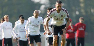Leonardo Bonucci during training at Milanello. (@acmilan.com)
