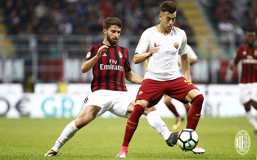 Fabio Borini and Stephan El Shaarawy during Milan-Roma at Stadio San Siro on October 1, 2017. (@acmilan.com)