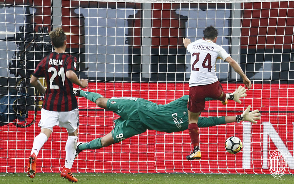 Alessandro Florenzi scoring during Milan-Roma at Stadio San Siro on October 1, 2017. (@acmilan.com)