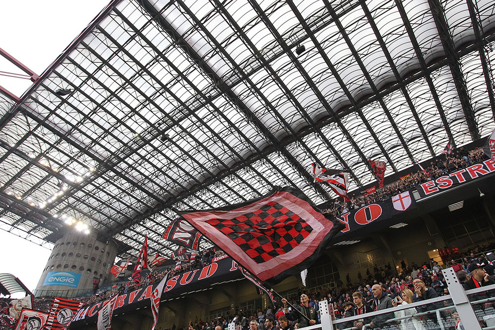 Milan fans during Milan-Roma at Stadio San Siro on October 1, 2017. (Photo by Marco Luzzani/Getty Images)