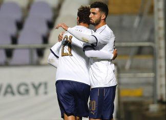 Patrick Cutrone and Manuel Locatelli celebrating during Hungary U21-Italy U21 at Ferenc Szusza Stadium on October 5, 2017. (Photo by Laszlo Szirtesi/Getty Images)