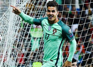 André Silva celebrates during the Andorra-Protugal FIFA 2018 World Cup qualifier at the Estadi Nacional on October 7, 2017 in Andorra la Vella, Andorra. (Photo by David Ramos/Getty Images)
