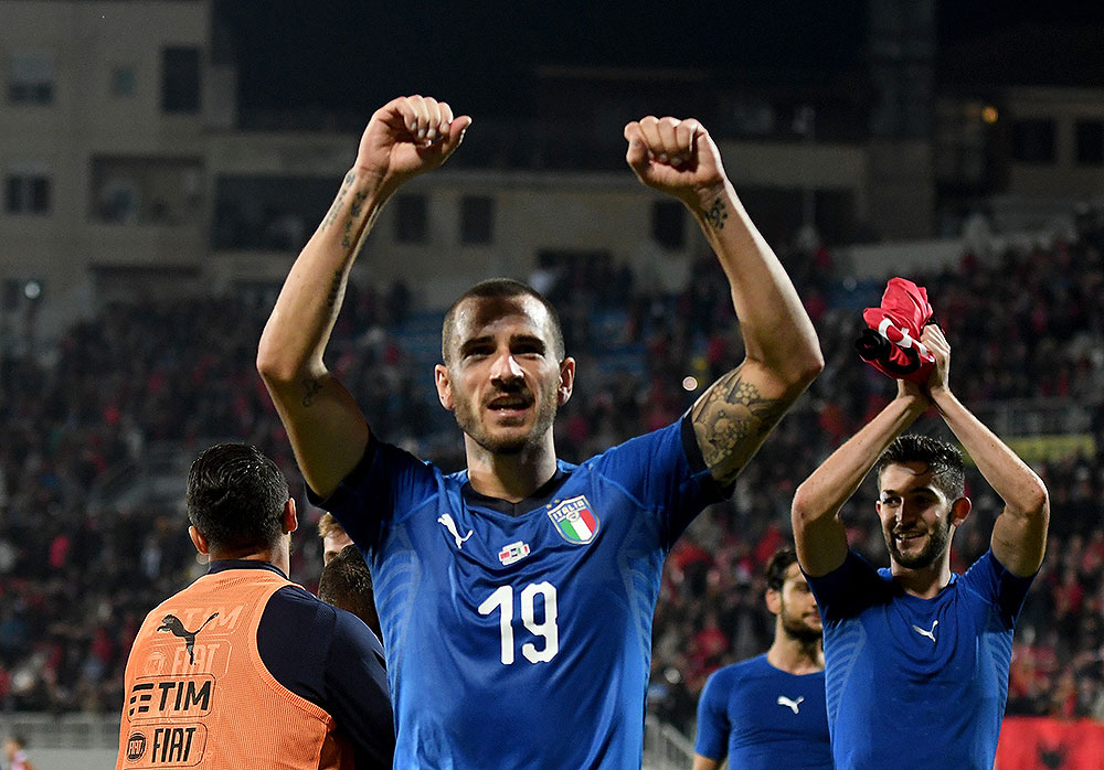 Leonardo Bonucci celebrating at the end of the Albania-Italy FIFA World Cup 2018 qualifier at Loro Boriçi Stadium on October 9, 2017 in Shkoder, Albania. (Photo by Claudio Villa/Getty Images)