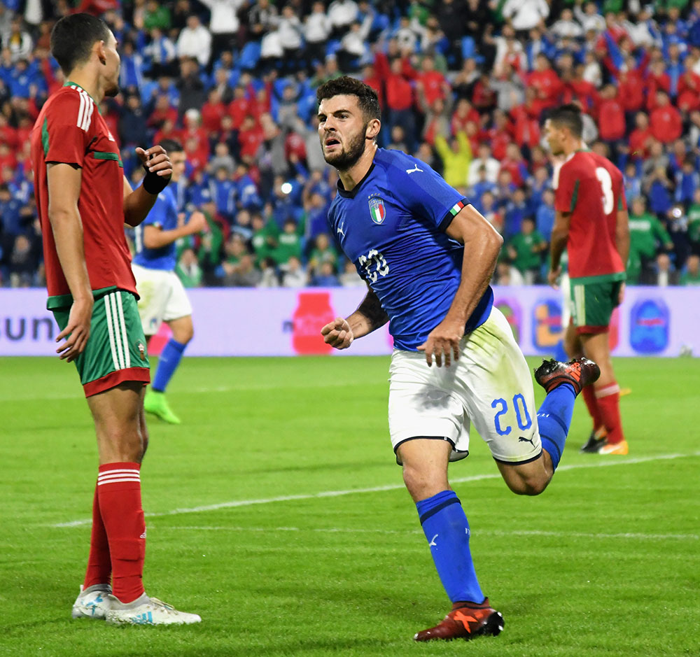 Patrick Cutrone celebrating during the Italy U21-Morocco U21 international friendly at Stadio Paolo Mazza on October 10, 2017 in Ferrara, Italy. (Photo by Alessandro Sabattini/Getty Images)
