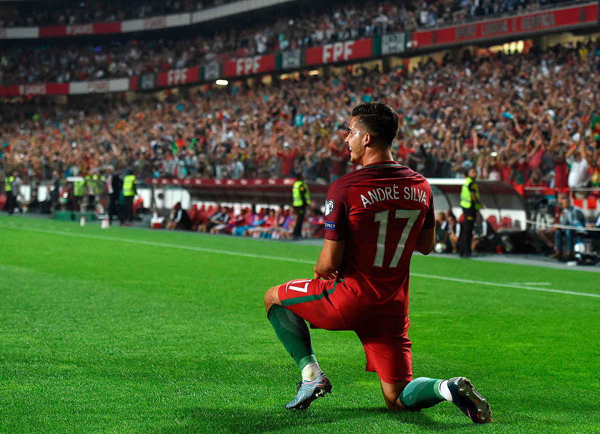 André Silva celebrating during the Portugal-Switzerland FIFA World Cup 2018 qualifier at the Luz Stadium on October 10, 2017 in Lisbon, Portugal. (FRANCISCO LEONG/AFP/Getty Images)