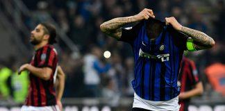 Mauro Icardi celebrating during Inter-Milan at Stadio San Siro on October 15, 2017. (MIGUEL MEDINA/AFP/Getty Images)