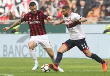 Alessio Romagnoli and Adel Taarabt duriing Milan-Genoa at Stadio San Siro on October 22, 2017. (Photo by Marco Luzzani/Getty Images)