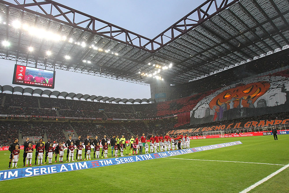 The Milan Curva Sud tifo before Milan-Juventus at Stadio San Siro on October 28, 2017. (Photo by Marco Luzzani/Getty Images)