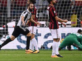 Gonzalo Higuain celebrating during Milan-Juventus at Stadio San Siro on October 28, 2017. (MARCO BERTORELLO/AFP/Getty Images)