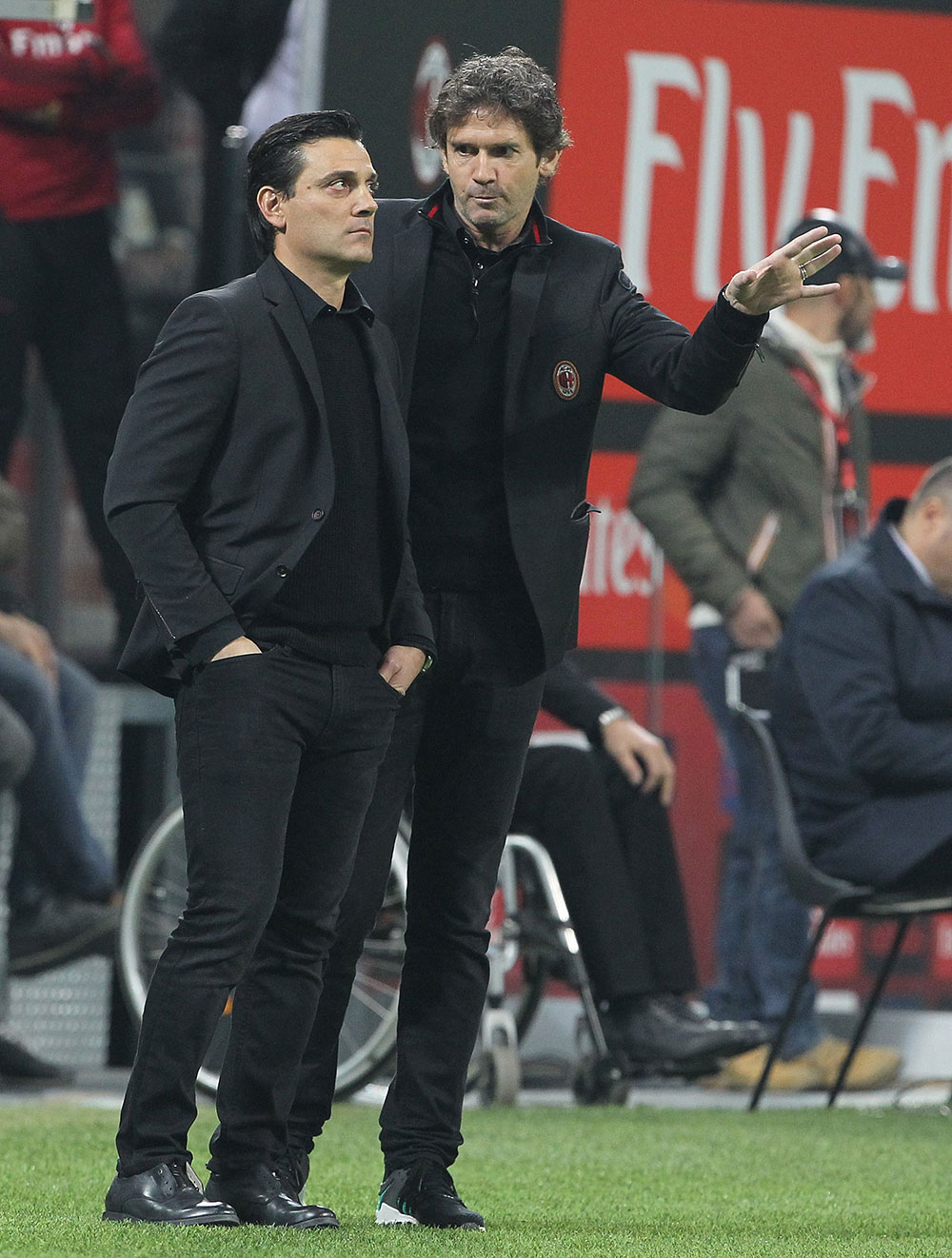 Vincenzo Montella and Daniele Russo  during  Milan-Juventus at Stadio San Siro on October 28, 2017. (Photo by Marco Luzzani/Getty Images)