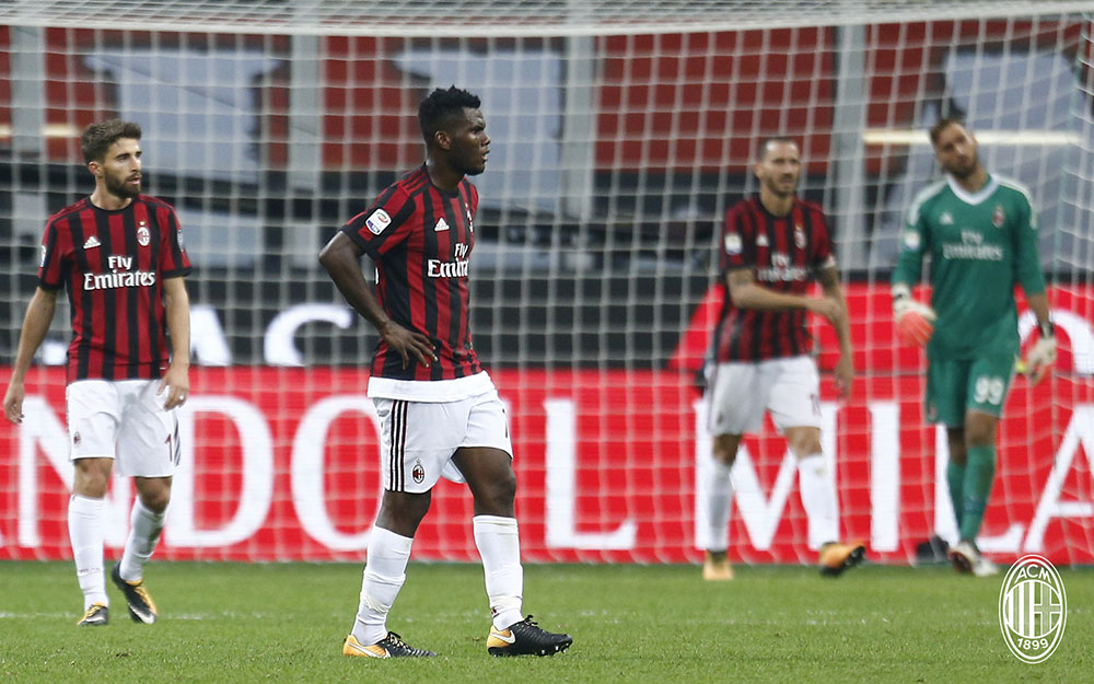 Fabio Borini, Franck Kessié, Leonardo Bonucci and Gianluigi Donnarumma at the end of Milan-Roma at Stadio San Siro on October 1, 2017. (@acmilan.com)