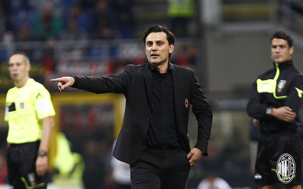 Vincenzo Montella during Milan-Roma at Stadio San Siro on October 1, 2017. (@acmilan.com)