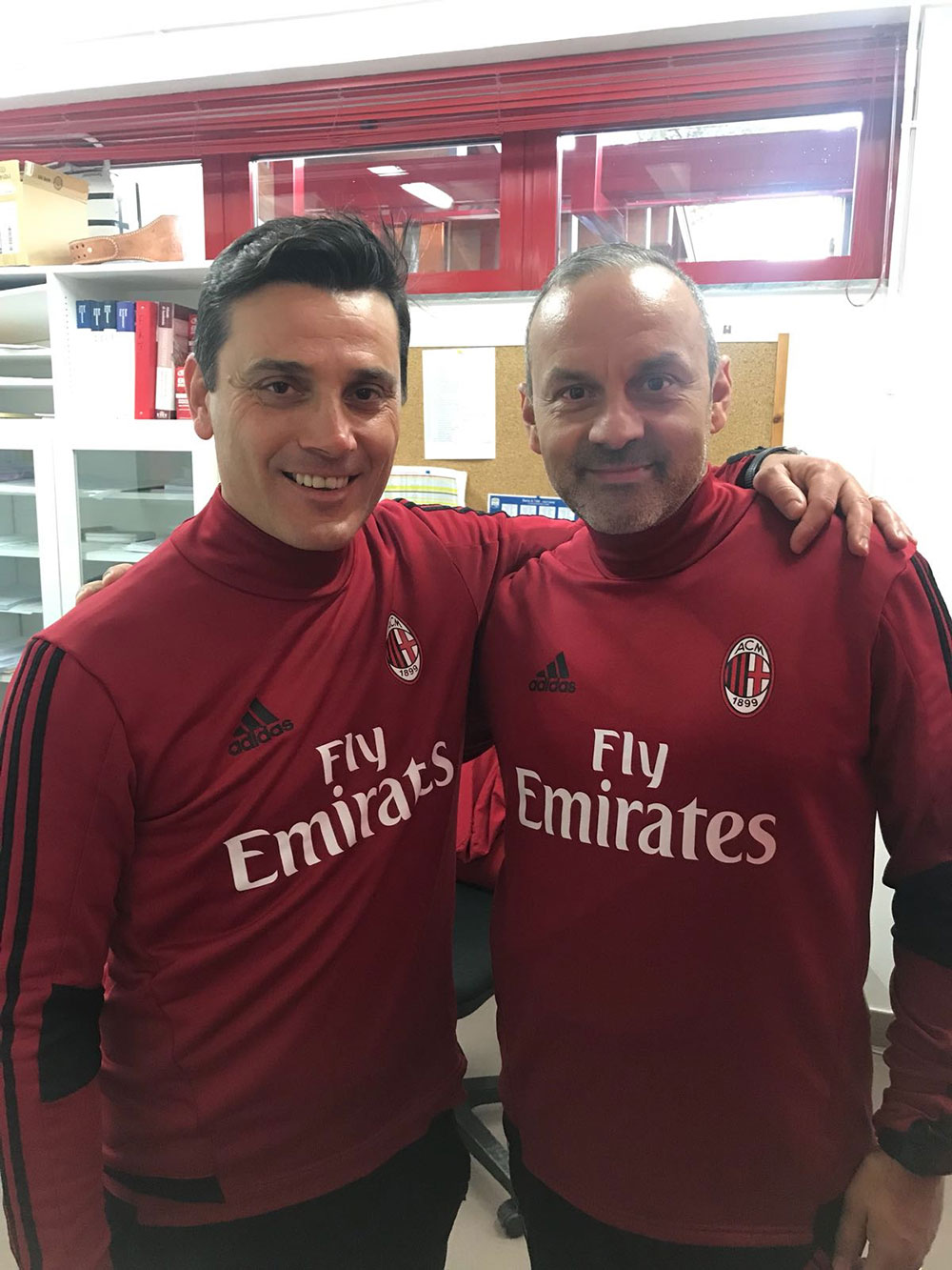 Vincenzo Montella and Mario Innaurato at Milanello on November 15, 2017. (@VMontella)