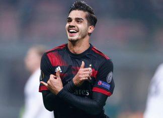 André Silva celebrating during Milan-Austria Wien at Stadio San Siro on November 23, 2017. (@acmilan.com)