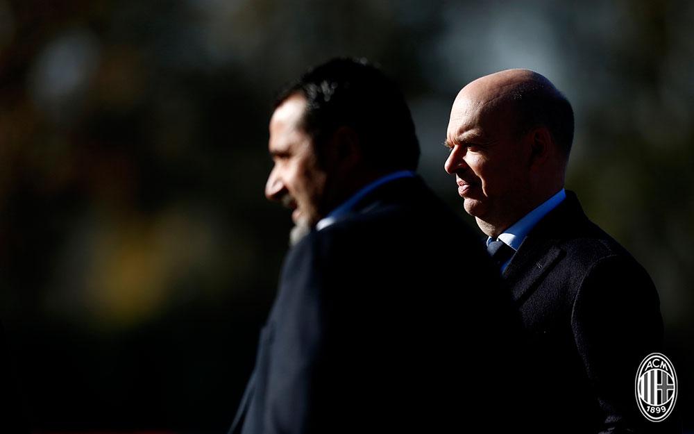 Marco Fassone and Massimiliano Mirabelli at Milanello on November 16, 2017. (@acmilan.com)