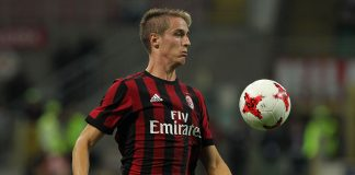 Andrea Conti during Milan-Shkëndija at Stadio San Siro on August 17, 2017. (Photo by Marco Luzzani/Getty Images)