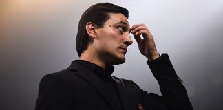 Vincenzo Montella during Milan-AEK Athens at Stadio San Siro on October 19, 2017. (MARCO BERTORELLO/AFP/Getty Images)
