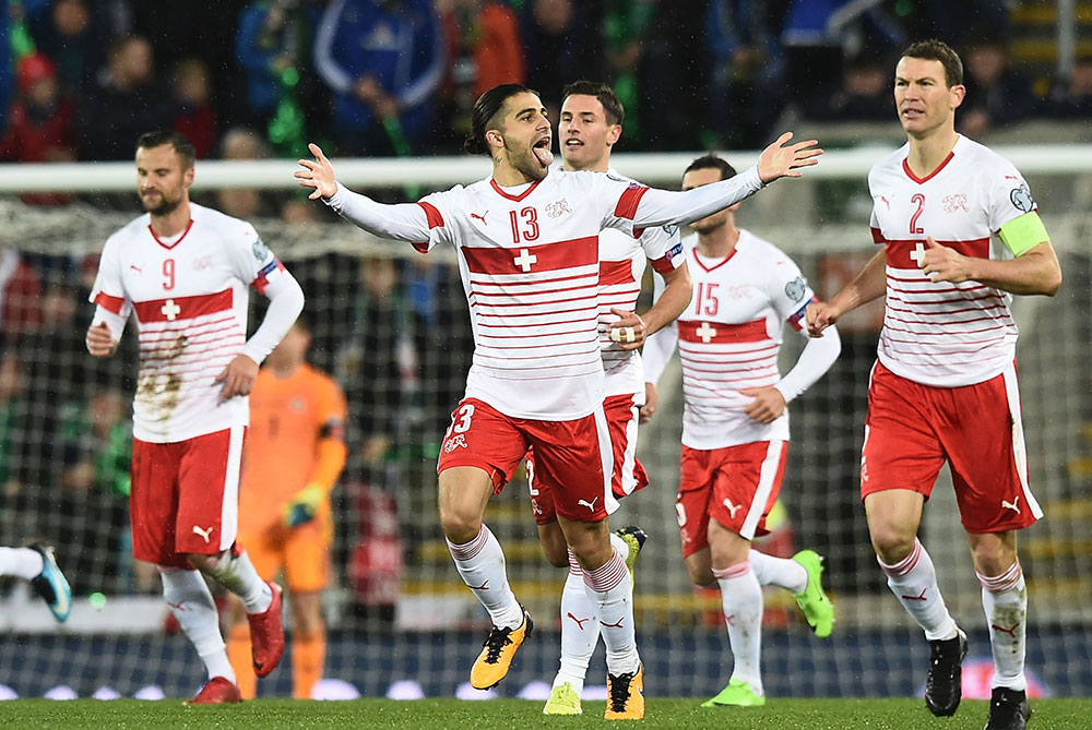 Ricardo Rodriguez celebrating during the Northern Ireland-Switzerland FIFA 2018 World Cup Qualifier Play-Off first leg at Windsor Park on November 9, 2017 in Belfast, Northern Ireland. (Photo by Charles McQuillan/Getty Images)