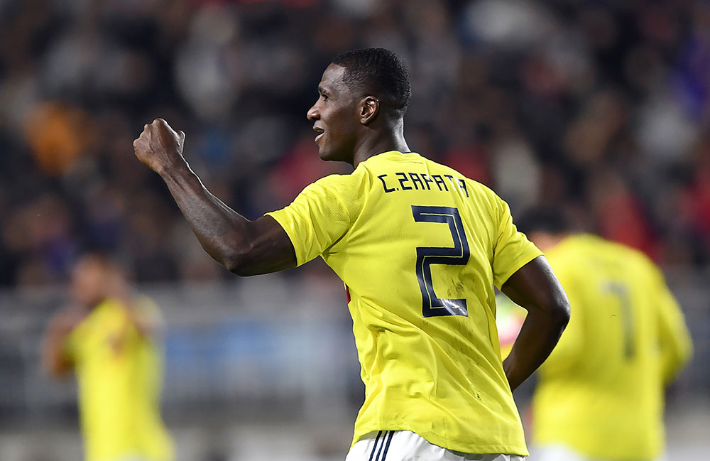 Cristian Zapata celebrating during the Republic of Korea-Colombia friendly at Suwon World Cup Stadium on November 10, 2017 in Suwon, South Korea. (Photo by Chung Sung-Jun/Getty Images)